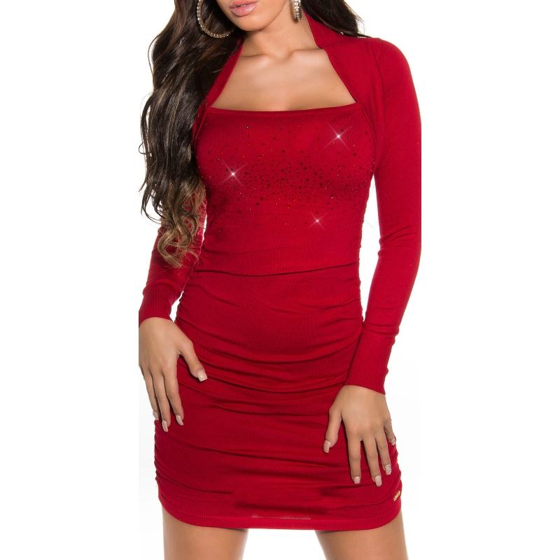 65baa6dd4c5b Luxusní úpletové šaty s topem Koucla - červené